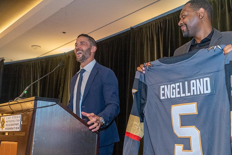 Deryk Engelland donating his VGK jersey for live auction.
